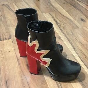 Flaming Platform Black Red Booties Forever 21 Faux